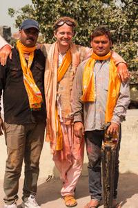 Von links nach rechts: Kanhaiya Lal Verma, André Wagner und Durgesh Goshwami, Indien 2014.