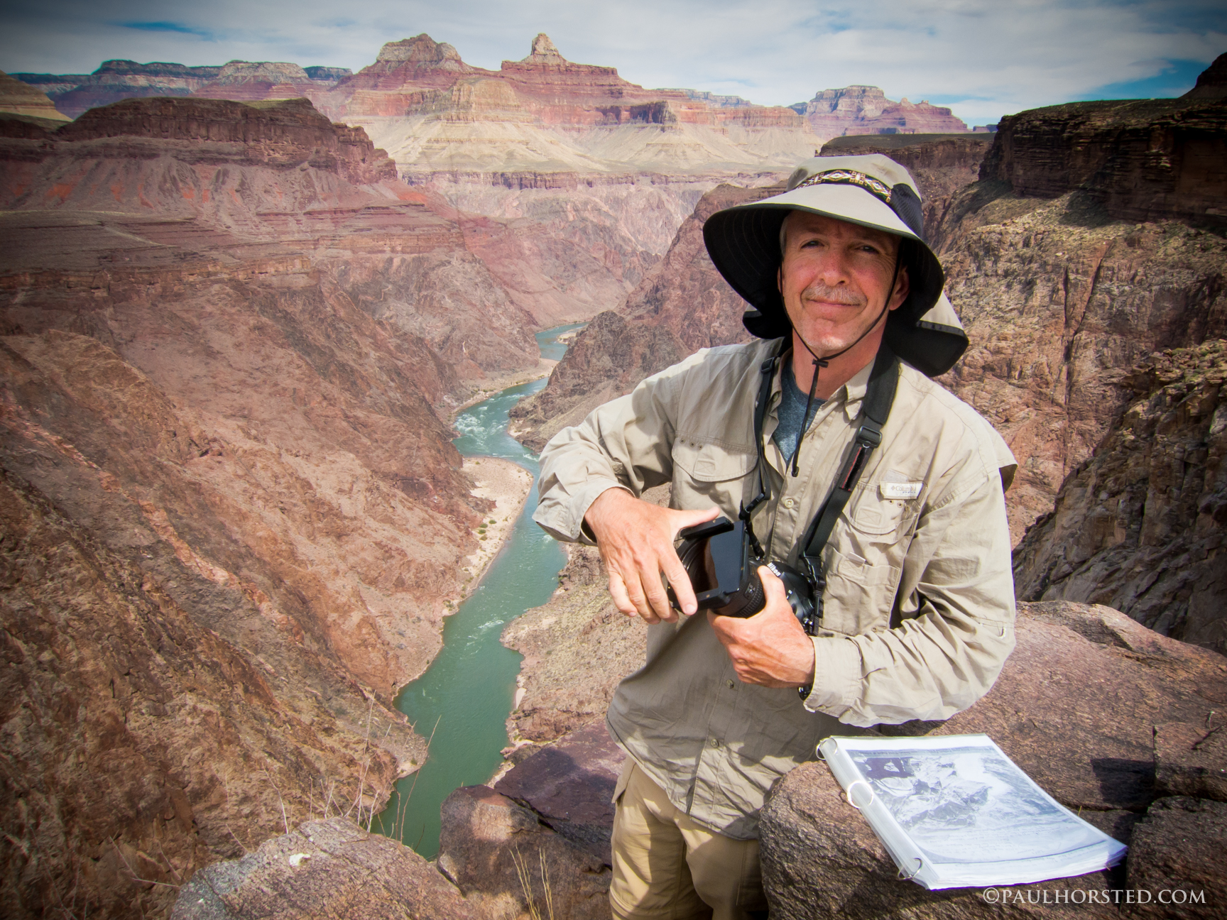 Paul Horsted at historic photo site in Grand Canyon