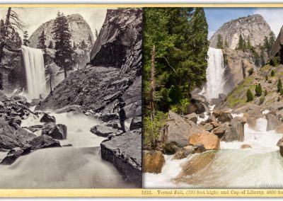 Yosemite Vernal Falls and Liberty Cap